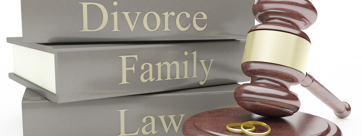 Image of divorce, family and law words on books
